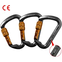 Rock Climbing Carabiner 3 Pack , AYAMAYA-AU Climbing Equipment High Strength 30kn / 3000kg Aluminum Locking Rock Climbing Carabiner D Shape Screwgate Carabiner Hook Twist Lock Carabiner Outdoor Sport Tools Valentines Day Gifts for Him