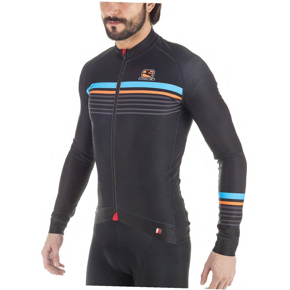 Giordana fr-c Sette長袖Jersey – Men 's Medium BLACK/ORAN/BLUE B076DXF92N
