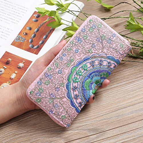Pink Bag Embroidery Evening Oxford Wallets Fashion Womens Handbag COOKI Handbag Purses Clearance Wallets Clutch wvqOAnH