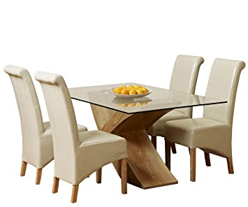 1home Glass Top Oak Cross Base Dining Table Set W 4 6 Leather Chairs Room