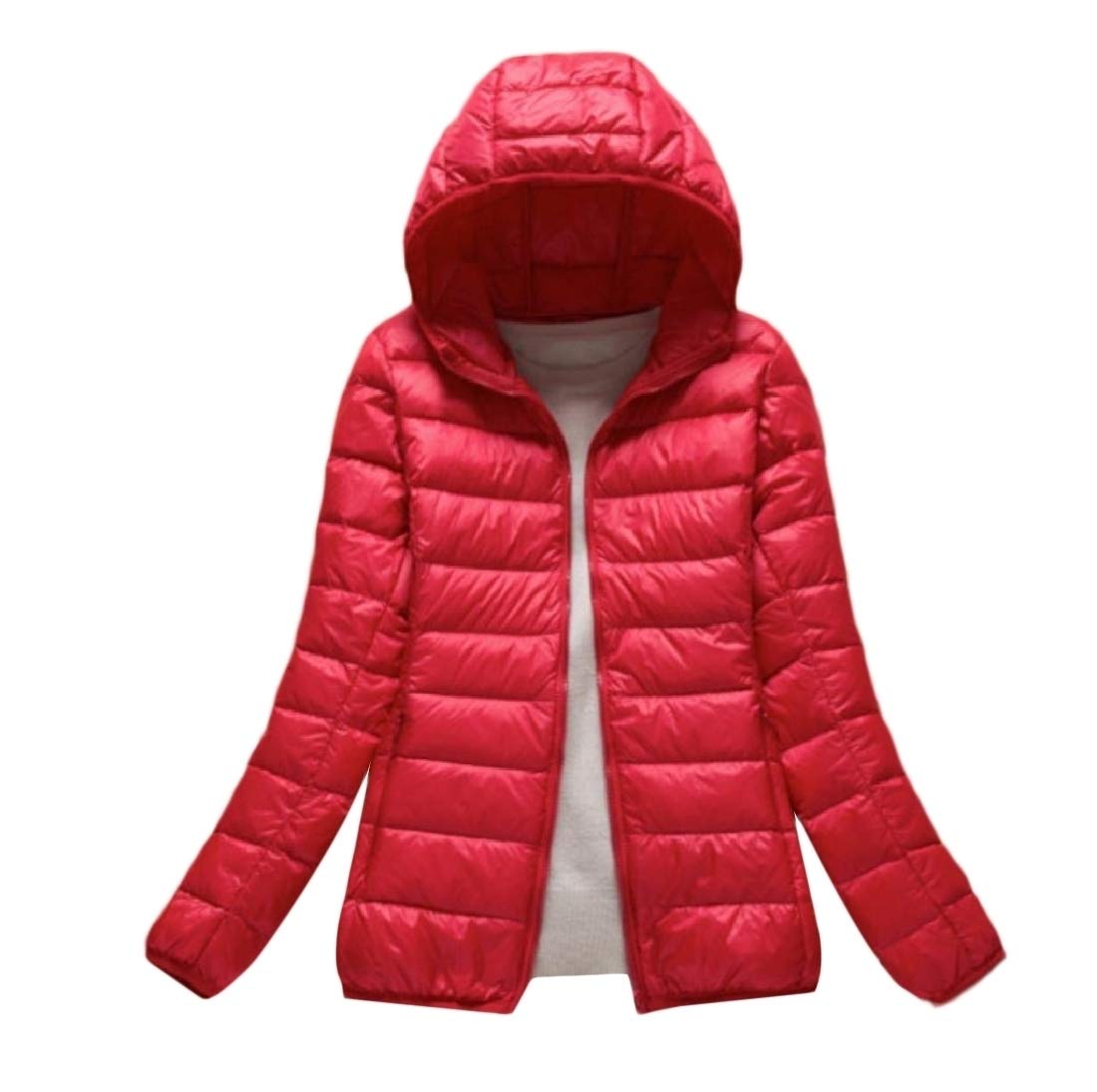 Doufine-women clothes Womens Packable Water-Resistant Puffer Outwear Casual Down Red M
