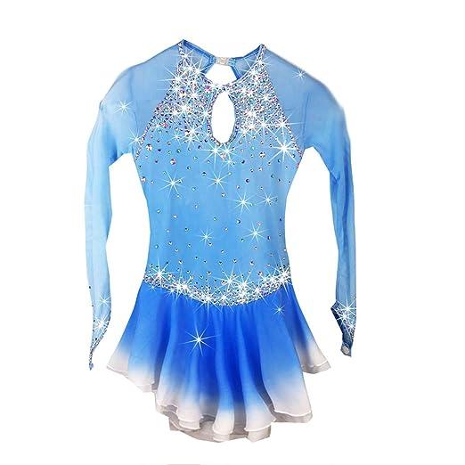 Vestido de hielo de patinaje para mujeres y niñas, traje de mangas ...
