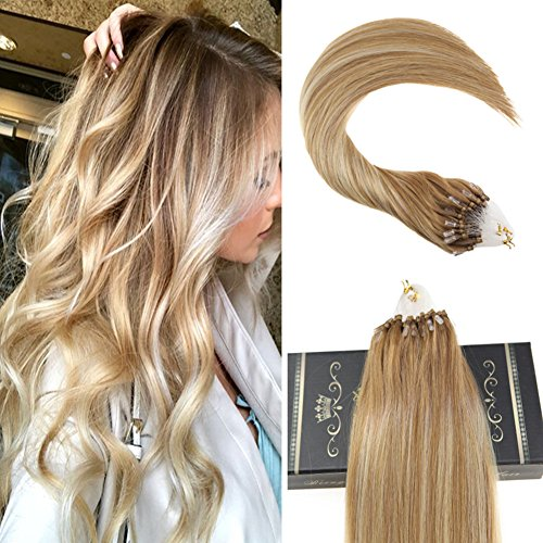 Loop Beaded Hair Extensions Human Hair Golden Brown with Platinum Blonde Human Hair Micro Ring Hair Extensions 50Gram (Brown Platinum Ring)