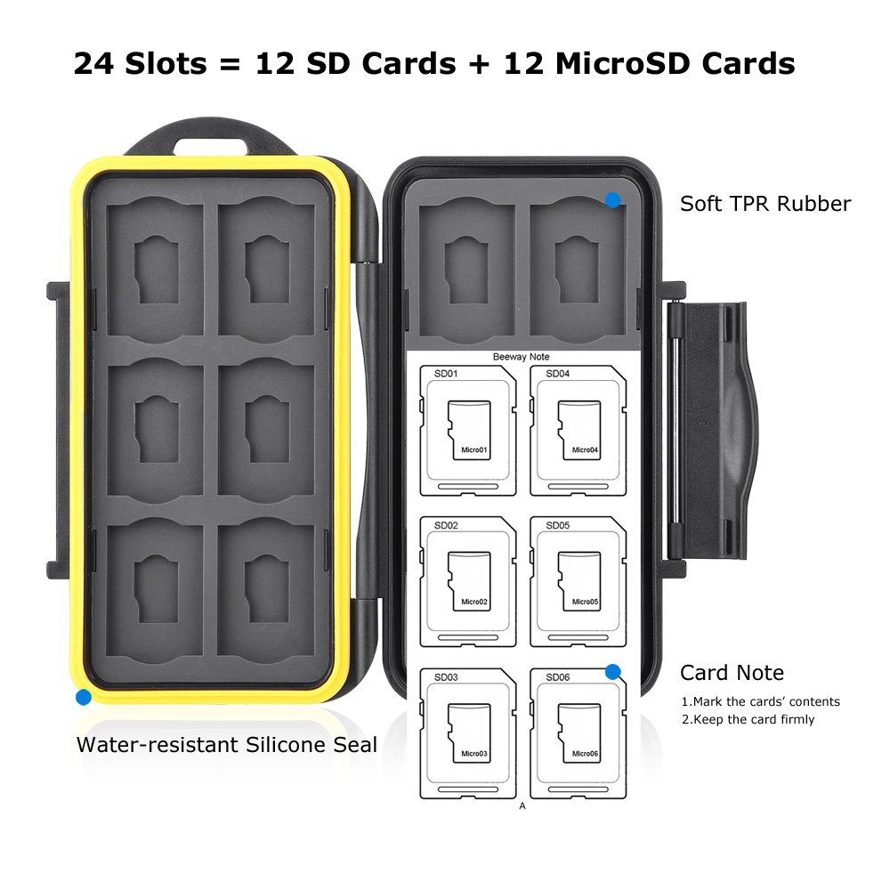 Beeway/® Memory Card Carrying Case Holder for SD SDHC SDXC 12 Slots Sealed Waterproof with Storage Bag /& Carabiner
