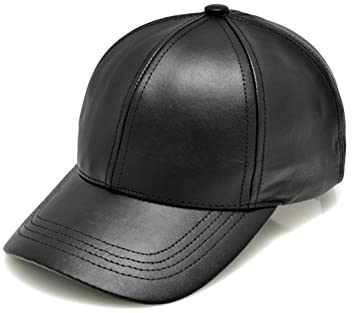 Amazon.com  Made in USA Unisex Genuine Leather Baseball Cap One Size Fits  All - BLACK  Sports   Outdoors 33cef3653358