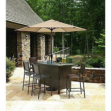 6 pc Outdoor Wicker Bars Set W/ Umbrella 1 bar 4 stools 1 umbrella