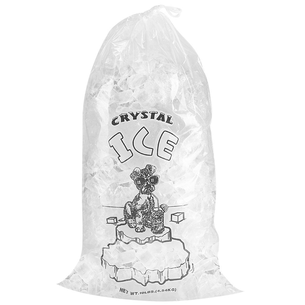 Crystal Clear Commercial Ice Bags with Drawstring (10 lb or 20 lb) - Extra STRONG, Reusable, Puncture-Proof - Safe Food Grade Plastic (1.5 mil) (10lb (Pack of 500))