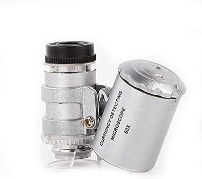 Microscopio Lupa de microscopio 60 X Magnifier de Jeweler LED LUZ ...