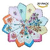 vintage handkerchiefs - WINDLY Women's Premium Vintage Cotton Handkerchiefs Hankies with Floral Prints - 30pcs (30pcs)