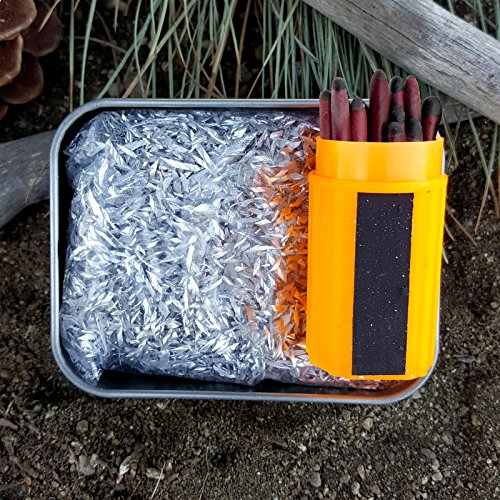 Kaeser Wilderness Supply Ultimate Fire Starting Survival Kit Magnesium Chips Winfproof Matches In a Tin Burns Super Hot