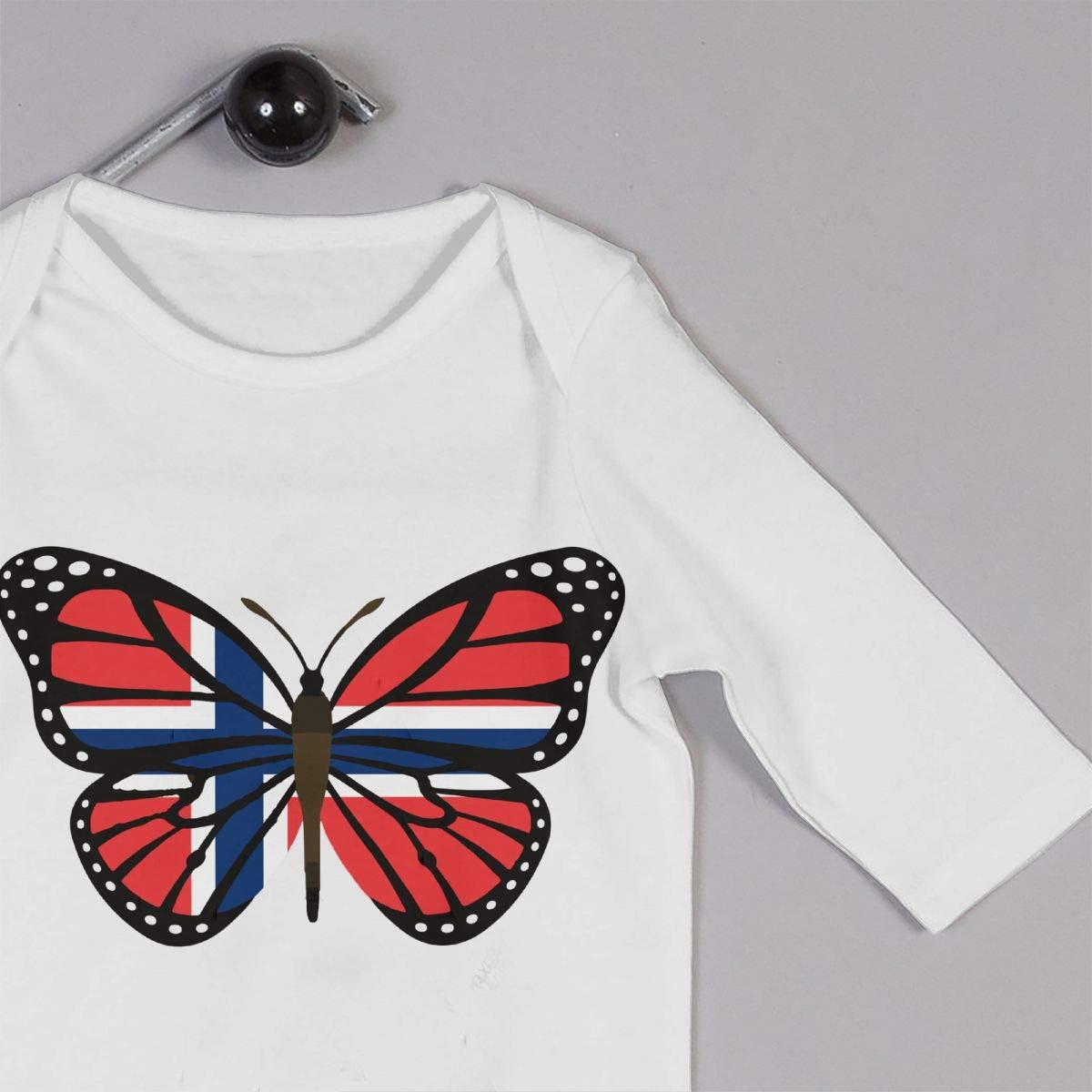 Mri-le1 Baby Girls Bodysuits ButterFlag Norway Flag Kid Pajamas