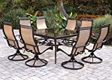 Hanover Monaco 9 Piece Dining Set with Eight Swivel Rockers and a Large 60″ Square Dining Table