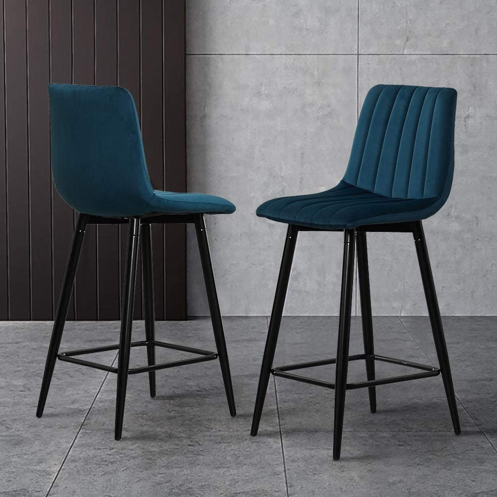 TUKAILAI Bar Stools Set of 2 with Velvet Covered Backrest and Metal Footrest and Base for Breakfast Bar Counter Kitchen and Home Green Blue