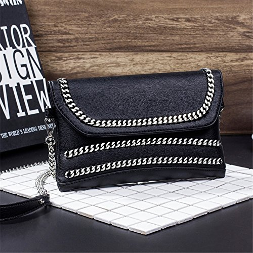 Embrague Cartera Simple de PU de Negro Decorativa de Monedero de la Cadena Bolsa TravelBags Retro Shoulder la del PU muñeca Tote de Mensajero la de Cadena Hombro Hombro Xuanbao twXxvCqRZC
