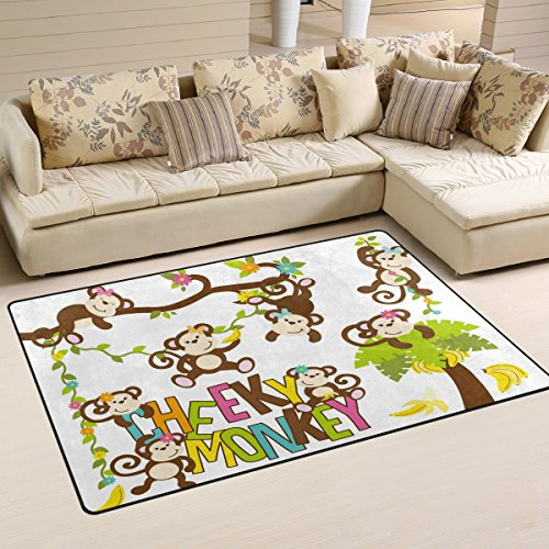 WOZO Cheeky Monkey Banana Tree Area Rug Rugs Non-Slip Floor Mat Doormats for Living Room Bedroom 60 x 39 inches - Monkey Rug