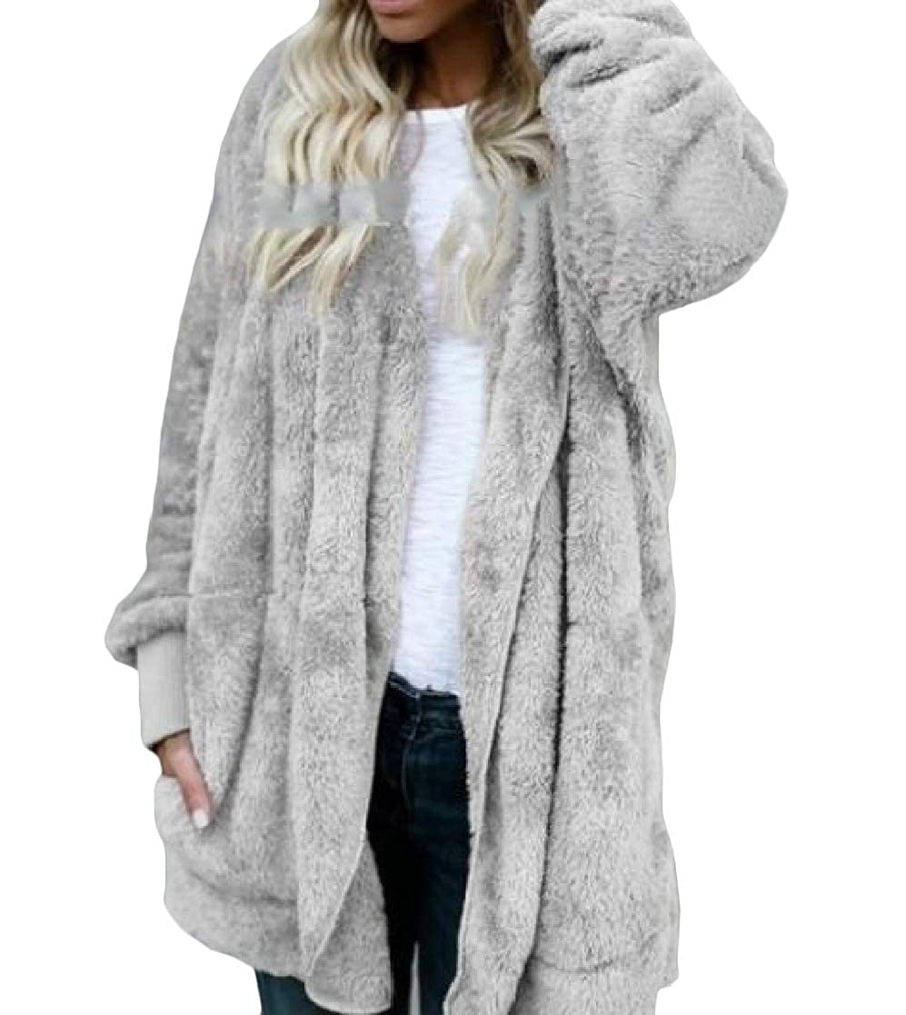 YUNY Womens Mid Long Hoodie Oversize Velvet Loose Pocket Outwear Jacket Grey 2XL