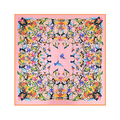 Womens Extra Large Scarf Silk Square Scarf Neckerchief Blanket Scarf Shawl Wraps 51x51 Inches (B-PINK)