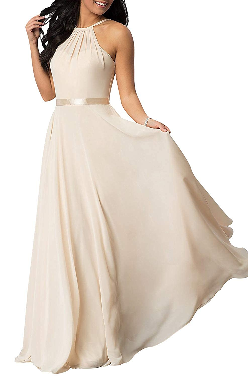 Champagne YUSHENGSM Long HighNeck Spaghetti Strap Prom Dresses Party Bridesmaid Dress Maxi Gowns