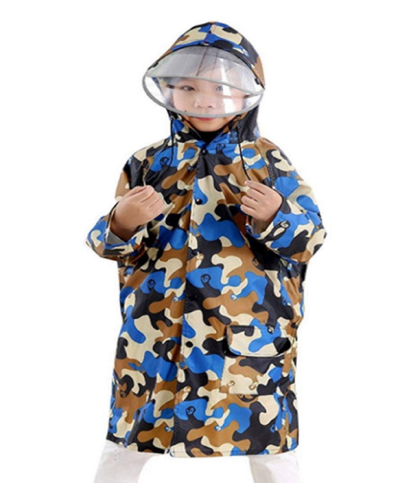 Irima-ya Kids Teen Girls Boys 【Colorful Camouflage】 Hooded Raincoat Jacket Raincoat Rainwear School's Back Cover  with Storage Bag (Camouflage blue) by Irima-ya
