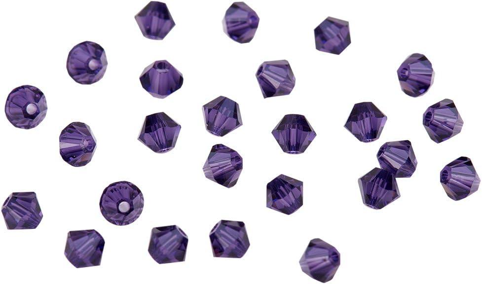 PandaHall 4 mm lilaJet 5301 Doppelkegel oesterreich Kristall Perlen