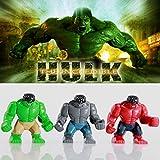 Wemi 3 colors Marvel Super heroes Minifigures Avengers RED GREEN HULK Toys