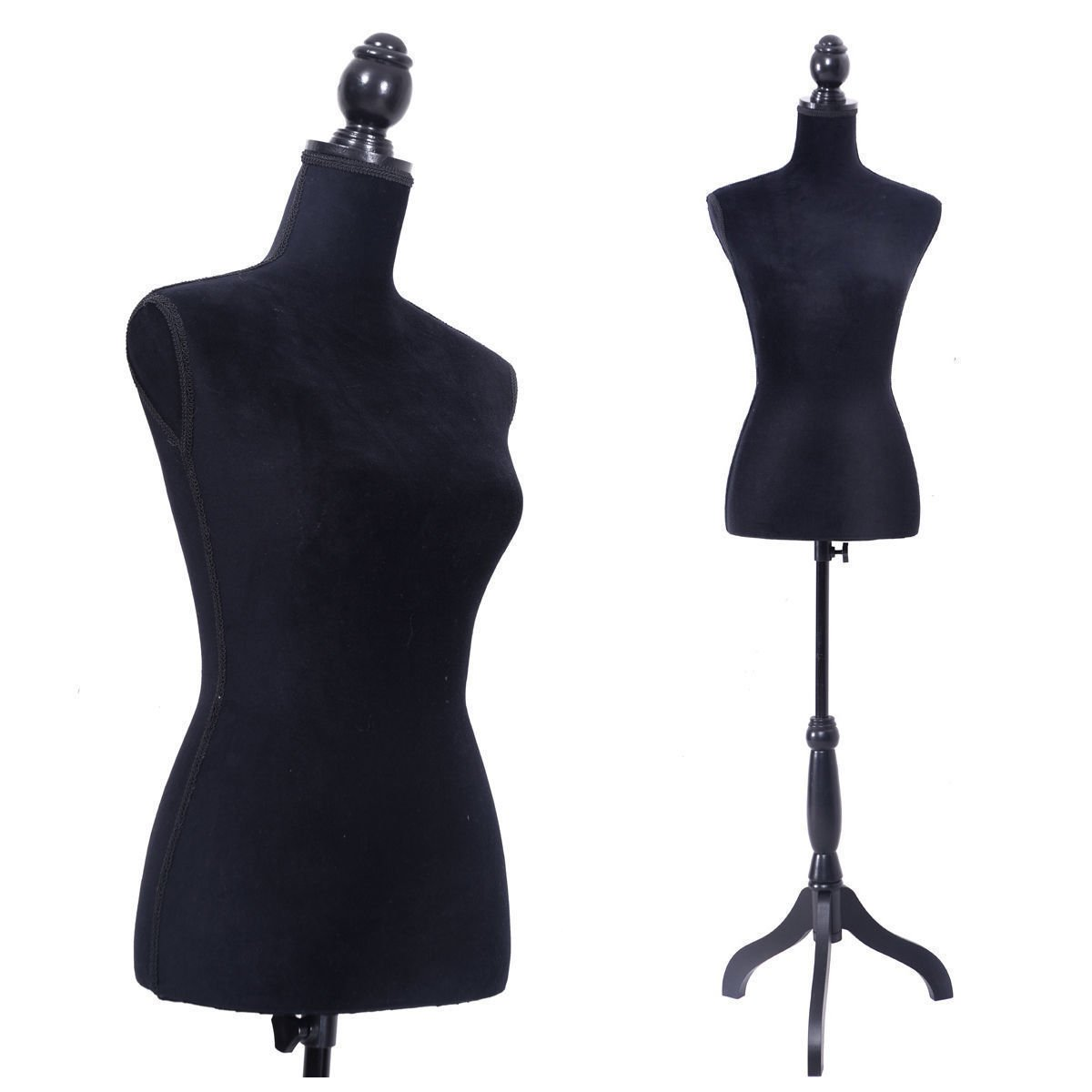 LAZYMOON Black Female Mannequin Torso Dress Form Clothing Display w/ Black Tripod Stand