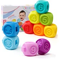 Aideal Soft Baby Teether Toy Building Blocks with Number, Shape & Animal Activity Toys Set for Ages 3-12 Months