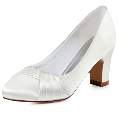 Elegantpark HC1608 Ivory Damen Geschloessene Zehen Komfort Pleated Satin Pumps Brautschuhe