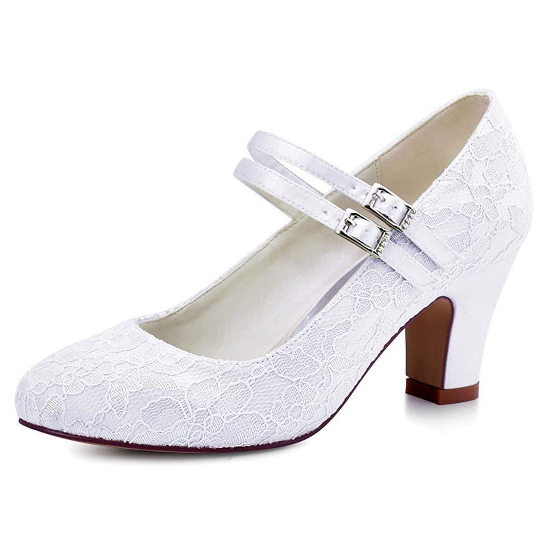 HhGold Damen-doppeltes Bügel-Med-Ferse-weiße Spitze-Hochzeits-Formale Schuhe Großbritannien 4 (Farbe   -, Größe   -)