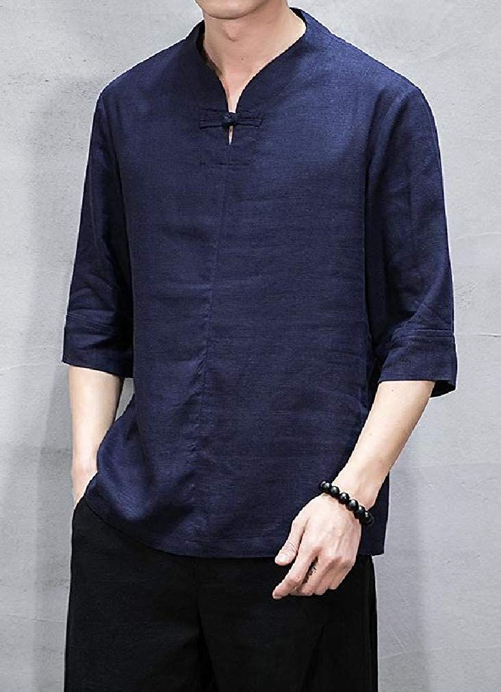 Vska Mens 1//2 Sleeve Cotton Linen Baggy Chinese Style Tees
