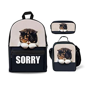 c88c30777724 Coloranimal Child Girls Boys School Backpack Set with Bookbag Lunch Box  Pencil Case Funny Sorry Cat Design Bagpack