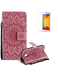 Funyye Strap Magnetic Flip Cover for Samsung Galaxy J3 2018,Premium Pink Sunflower Embossed Pattern Folio Wallet Case with Stand Credit Card Holder Slots Case for Samsung Galaxy J3 2018,Shockproof Ultra Thin Slim Fit Full Body PU Leather Case for Samsung Galaxy J3 2018 + 1 x Free Screen Protector