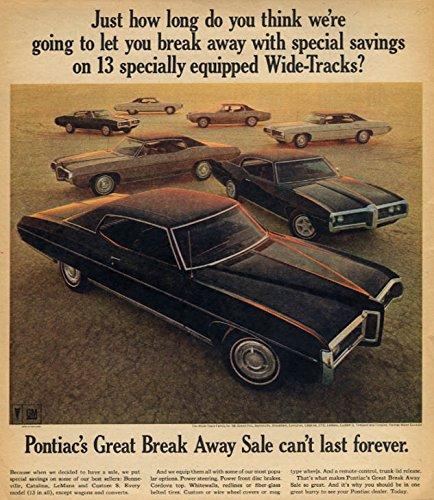 13 specially equipped Wide-Tracks Grand Prix Bonneville GTO Firebird + ad 1969
