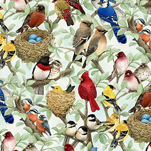 Beautiful Birds by Tracy Lizotte from Elizabeth's Studio 100% Cotton Quilt Fabric By the Yard 4320 Azure Nests