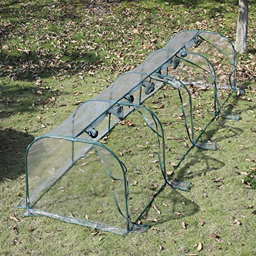 Outsunny 13' L x 3.25' W x 2.5' H PVC Metal Tunnel Cloche Garden Greenhouse Kit by Outsunny (Image #3)