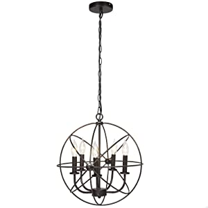 Best Choice Products 16x15.25in Industrial Vintage Steel Hanging 5-Light Chandelier Ceiling Fixture for Living Room, Foyer, Entryway - Bronze