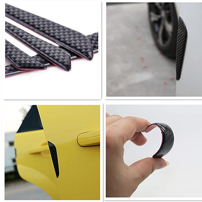MAXTUF 4pcs 3D Real Carbon Fiber Car Side Door Edge Protection Guard Bumper Protector Door Trim Sticker Anti-Collision with Strong Adhesive Universal fit Auto SUV Pickup Trucks Car Door Protector