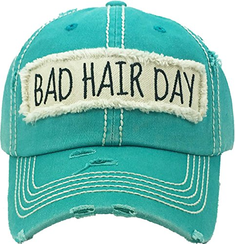 Funky Junque Womens Bad Hair Day Free Spirit Happy Camper Distressed Patch Baseball  Hat Cap f81f7d1b7
