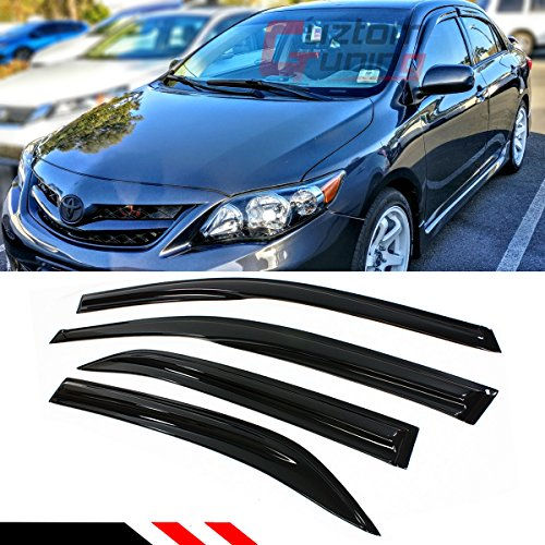 Cuztom Tuning JDM 3D Style Smoked Window Visor Vent Shade for 2009-2013 Toyota Corolla