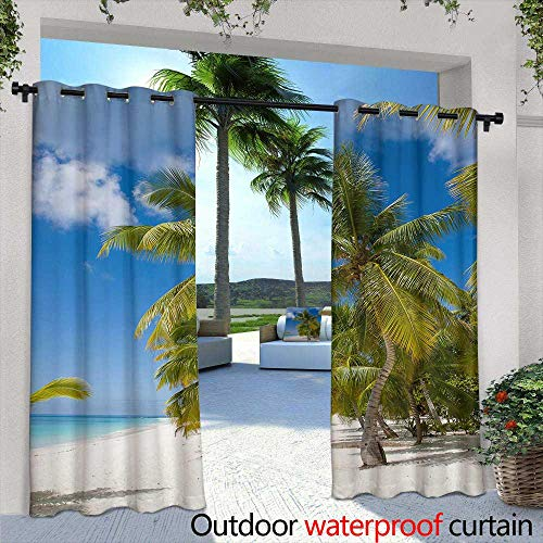 Outdoor- Free Standing Outdoor Privacy Curtain,Bathroom Interior with a tub a Chair with Body Care Products a Light Wooden Wall and a lamp,W84 x L96 Outdoor Patio Curtains Waterproof with - Lamp Wall Ashton