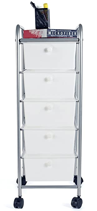 EaseOffice 5 Drawer Rolling Storage Cart With Heavy Duty Chrome Steel Frame  For Home,
