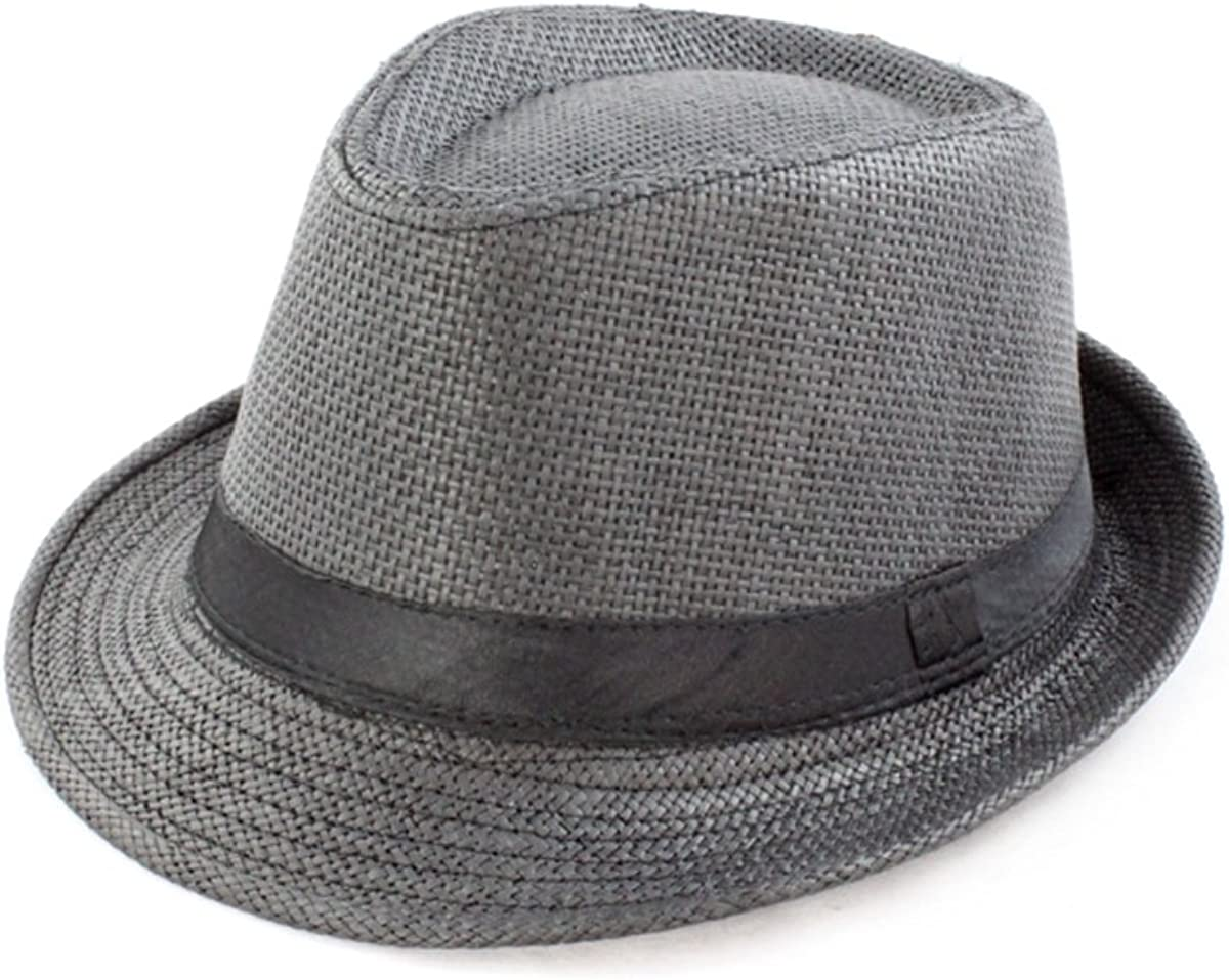 Faddism GHAT57BK02 Black Fedora Hat Features Full Straw and Refresh Feelings