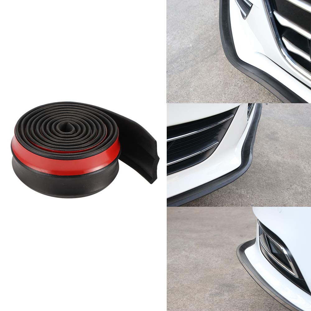 Black DDSKY Universal 2.5m//8.2ft Carbon Fibe Front Bumper Lip Splitter Protector for Car Truck SUV Car Front Bumper Spoiler