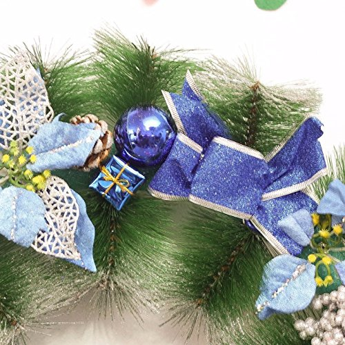 Christmas Garland for Stairs fireplaces Christmas Garland Decoration Xmas Festive Wreath Garland with Wreath of 60CM Blue Christmas Wreath