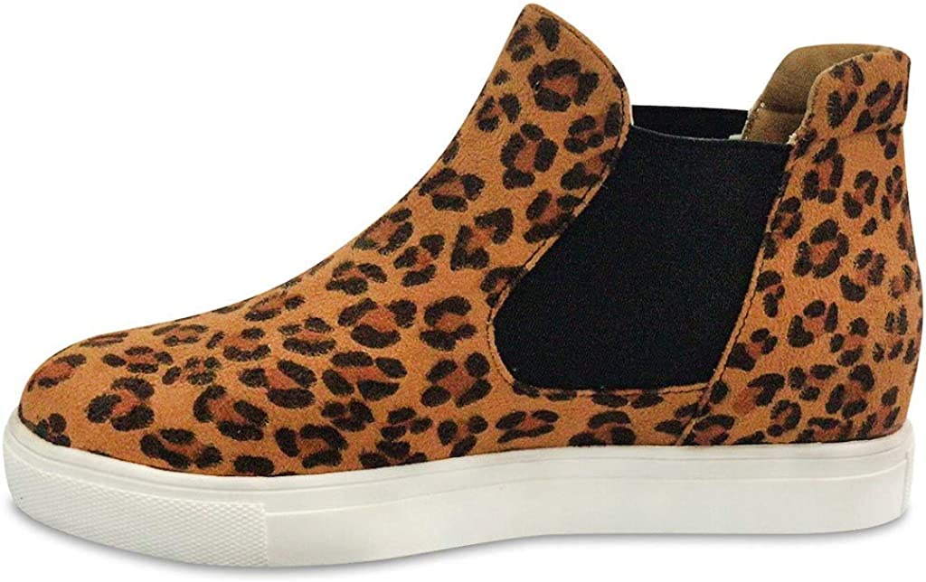 Malbaba Womens Slip On Flat Booties Leopard Printed Ankle Boots Soft Casual Desert Oxford Shoes