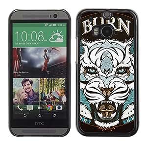iKiki-Tech Estuche rígido para HTC One M8 - Cool Tiger Tattoo Badge