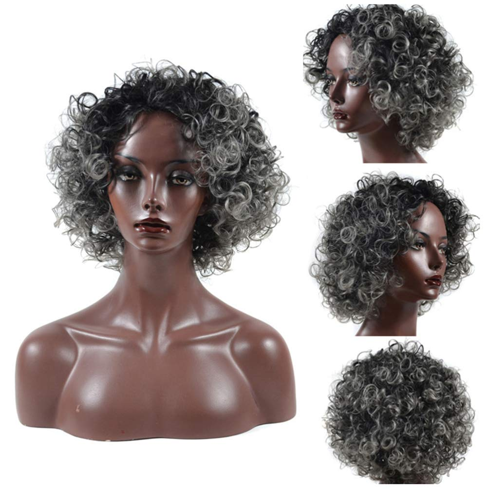 Cosplay Wigs Curly Women Wigs Natural Hairline Black Silver Gray Mixed Wig Synthetic Hairpiece