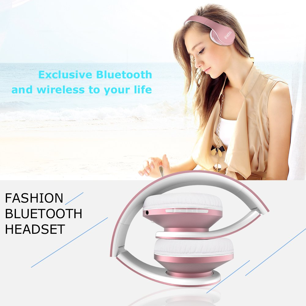 Bluetooth Headphones, Ifecco V5 Over Ear Headphones Stereo Wireless Headset Fold Earphone with Built-in Mic and Wired Mode for PC/Cellphones (Rose Gold)