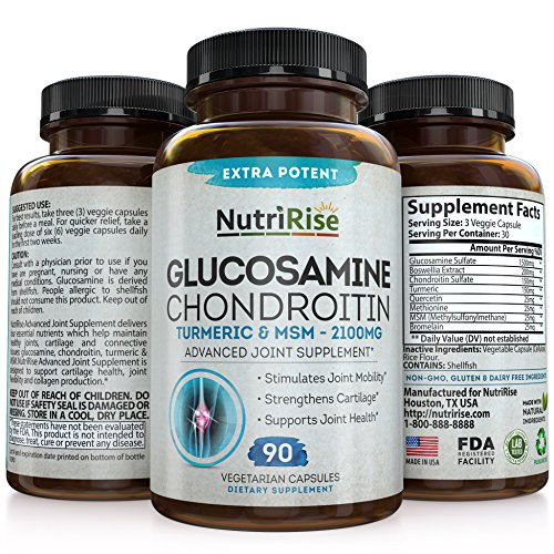 Glucosamine Chondroitin MSM Turmeric Boswellia 2100mg - Premium Joint Pain Relief Supplement for Anti-Inflammation, Antioxidant & Back, Knees, Cartilage & Joint Support - Non-GMO - 90 Capsules