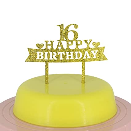 Happy 16th Birthday Cake Topper Sweet Shiny Gold Party Decoration Supplies